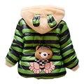 2017 quente do bebê meninas casaco winer panda dos desenhos animados das meninas dos meninos jaqueta para crianças com capuz velo lining algodão-acolchoado miúdo casaco