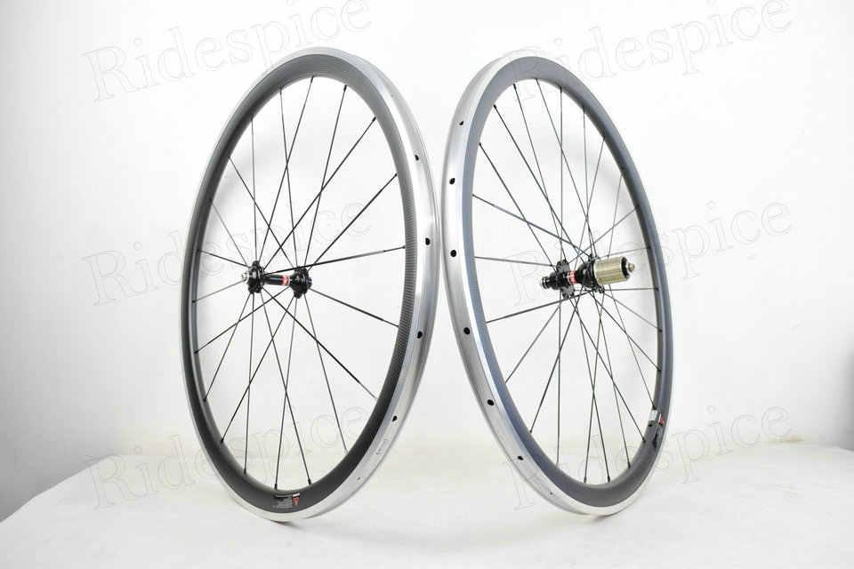 Jantes en alliage de carbone de haute qualité jantes en carbone surface de frein en alliage avec moyeu droit Powerway R36 pour vélo de route