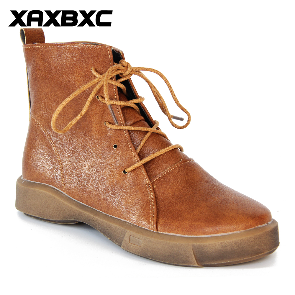 XAXBXC Retro British Style Leather Brogues Oxfords Warm Short Boot Women Shoes Brown Martin boots Handmade Casual Lady Shoes