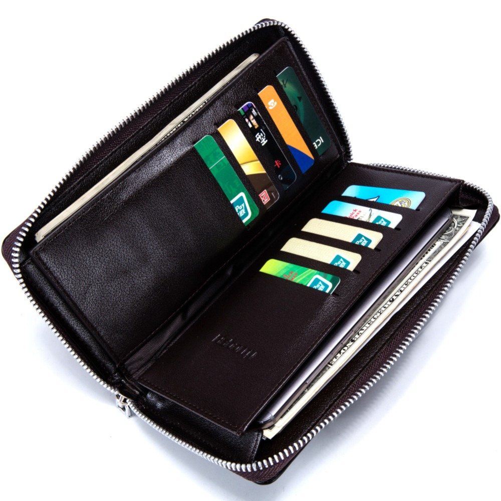New Designer Leather Wallets Men Brand Long Zipper Purses Phone Clutch Wallets Male Business Style Money Bags With Card Holders 2016 famous brand new men business brown black clutch wallets bags male real leather high capacity long wallet purses handy bags