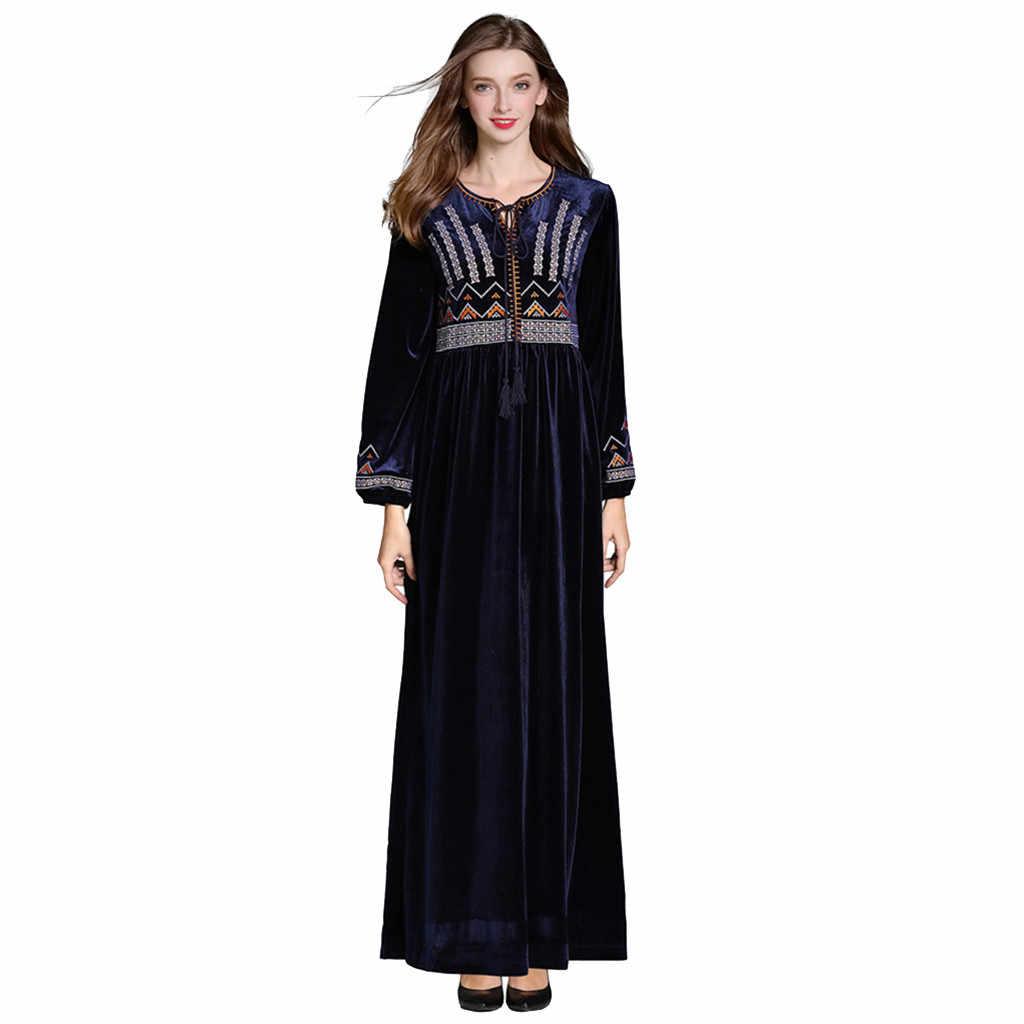 ОАЭ платье Дубая женские мусульманские платья 2019 Мода Арабский исламский Ближний Восток этнический принт абайя с длинным рукавом платье подарок часть