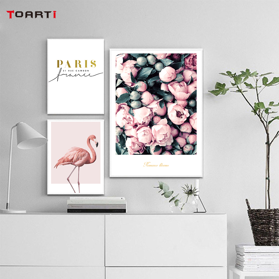 Modern Flowers Canvas Painting On The Wall Romantic Blooms Posters Prints Pink Flamingo Decorative Pictures For Living Room Home (3)
