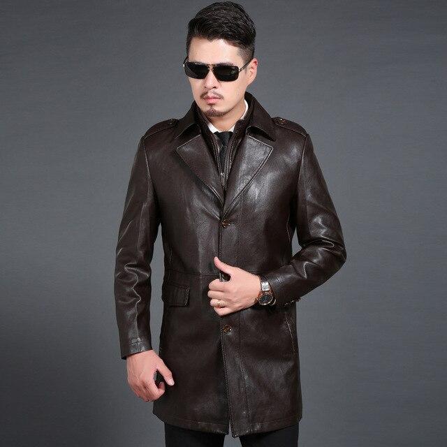 11746af63ca3 Neue ankunft Herbst Winter Leder Windjacke Männer Anzüge Jacken Dicken Mode  Einreiher Lange hohe qualität größe