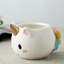 Free shipping Unicorn Mug 3D New Ceramic Coffee Cup Children Girl Boy Cute Creative Unicorn Mug Gift 350ML 2017 new