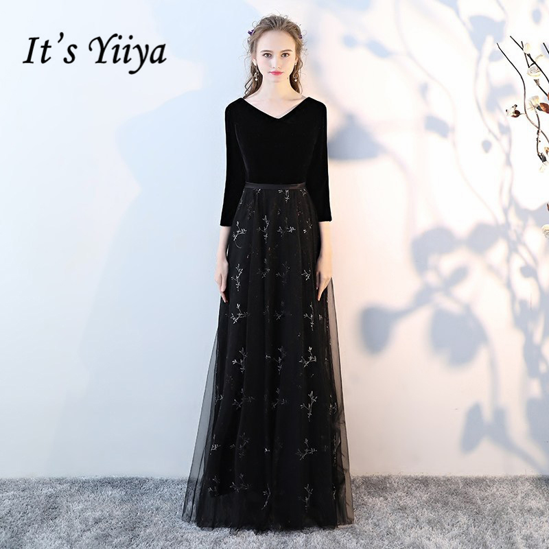 Its Yiiya Formal Evening Dresses Black V-Neck Half Sleeve Lace Illusion  Sexy Backless Fashion Designer ... 9562767ea3fd