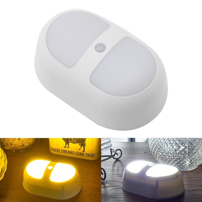 Движения Сенсор Управление ночь светодиодная лампа Придерживайтесь на стене Батарея питание путь света
