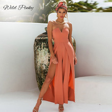 WildPinky 2019 Stylish Wide Leg Jumpsuits Casual High Waist Split Strapless Jumpsuit Women Hollow out Long Rompers Overalls