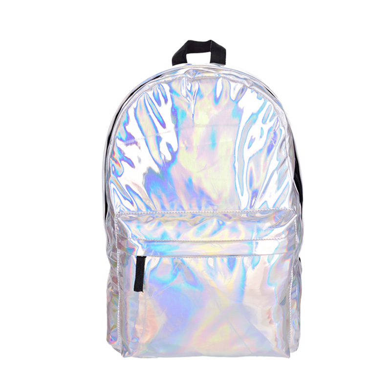 PU Leather Backpack Solid Color European Women College Student School Bag Unisex Cool Laser Sliver Travel Bag Pack Schoolbags