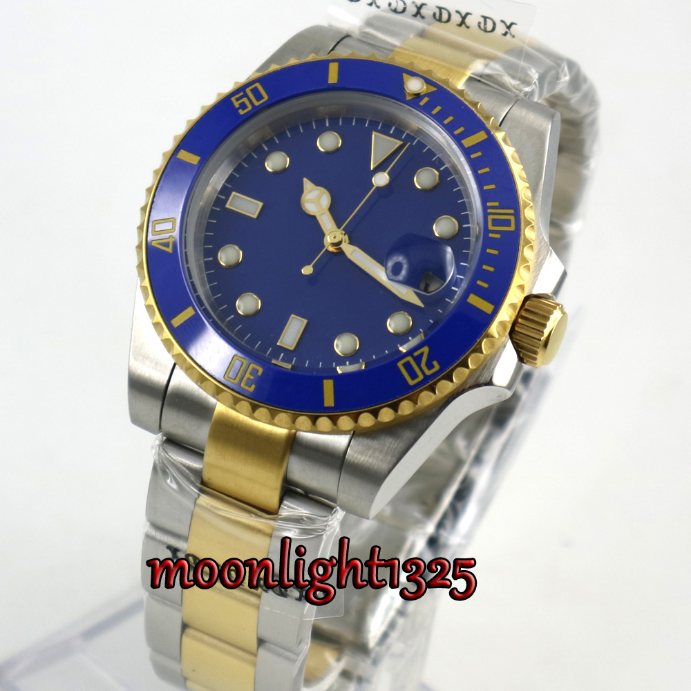 Golden plated BLIGER 40mm blue Sterile Dial Sapphire Glass Ceramic BEZEL Automatic movement mens watch menGolden plated BLIGER 40mm blue Sterile Dial Sapphire Glass Ceramic BEZEL Automatic movement mens watch men