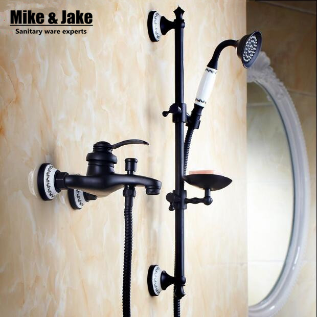 Bathroom black wall shower mixer set with lifter shower bar bath simple bathtub mixer set with