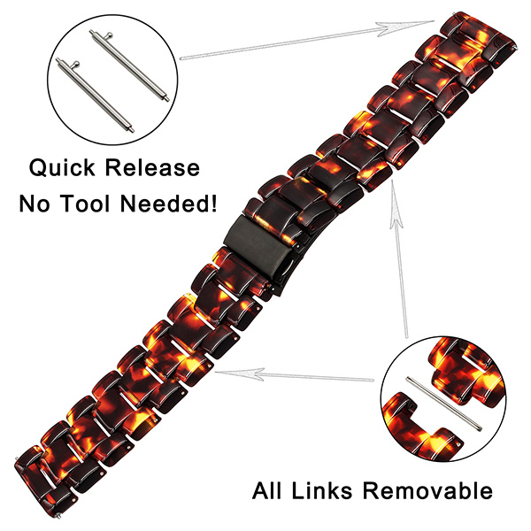 Immitation Ceramic Watchband for Samsung Galaxy Watch 42mm 46mm Active 2 40mm 44mm Quick Release Strap Resin Band Wrist Bracelet | Watchbands