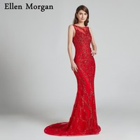 Backless Mermaid Suknie Wieczorowe Czerwone 2018 Robe De Soiree Głównym Frezowanie Eleganckie Gwiazdy Formalna Prom Party Suknie dla Kobiet Nosić