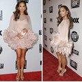 Frete grátis novo estilo de Festa de gala fox Globo de Ouro Jennifer Lopez Chiffon vestido do tapete 2016 de alta Mini Vestido Da Celebridade Da noite