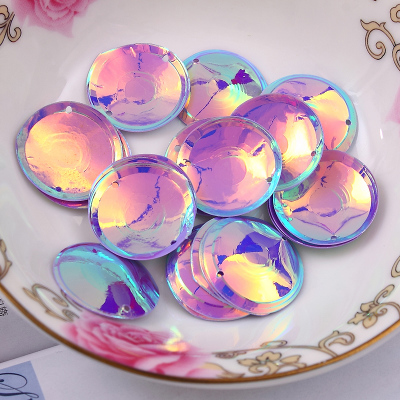 100Pcs/Pack Purple Color Beautiful Shining Sequin 20mm Round Cup Oval Sequins Women Clothing Handmade Accessories With 2 Holes