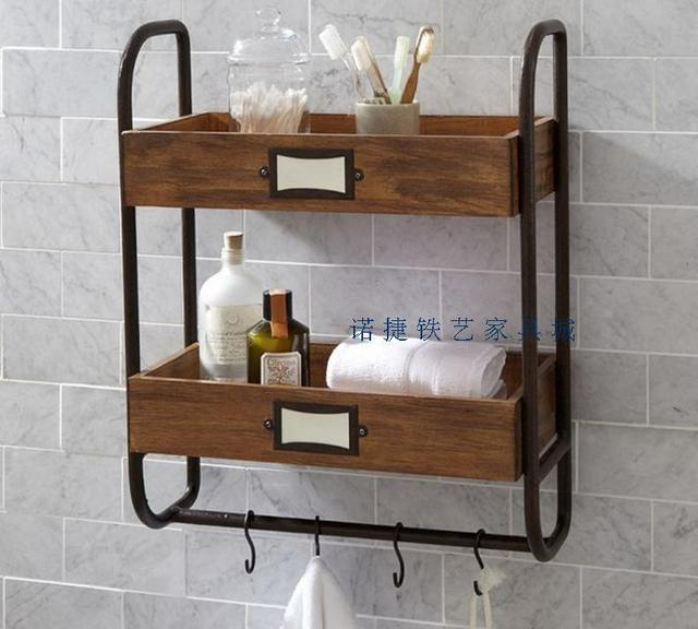 American Iron wood bathroom wall shelving ledge shelf towel rack two ...