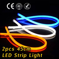 2x 45cm Daytime Running Light Universal Flexible Soft Tube Guide Car LED Strip White DRL and Yellow Turn Signal Light