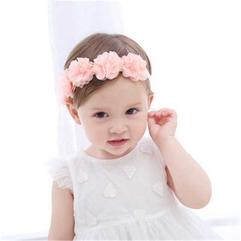 Ideacherry Baby Adorable Headdress Newborn Toddler Headband Ribbon Elastic Babies Headdress Kids Hair Band Girl With Pink Flower