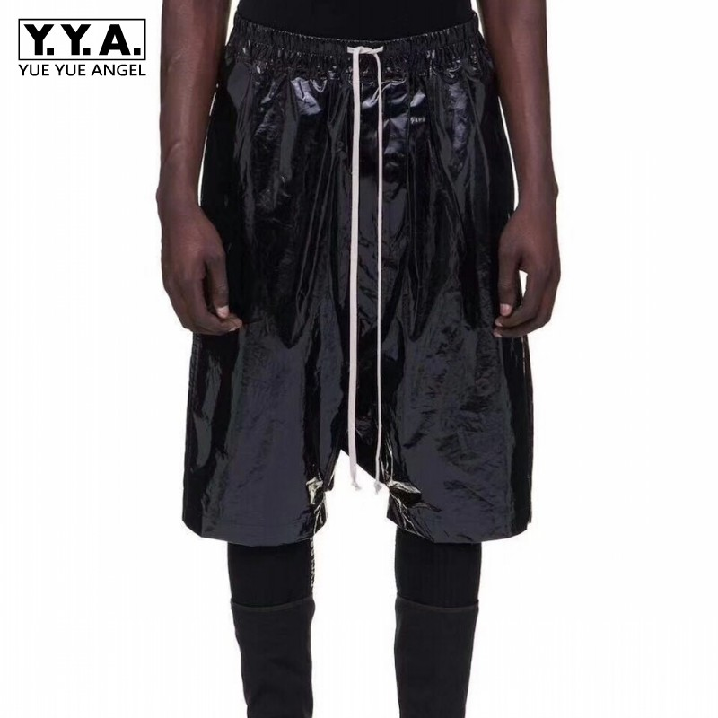 Brand Runway Mens Short Black Patent Leather Drop Crotch Harem Pants Top Quality Hip Hop Casual Loose Fit Elastic Waist Shorts