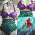 ariel the little mermaid tail princess ariel dress cosplay costume kids for girl fancy green dress swimsuit swimming suit