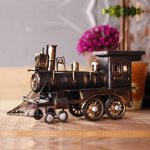 Clásico de Hierro Antiguo Tren Colecciones Escaparate de Artesanía Hecha A Mano Retro Modelos de Trenes De Vapor