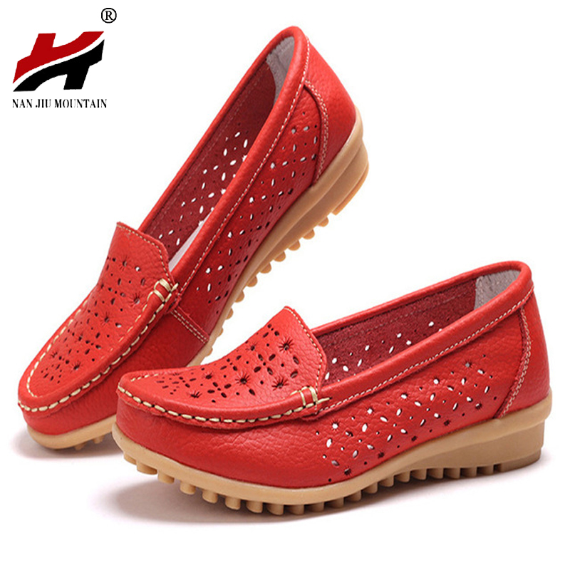 Shoes Woman 2017 Genuine Leather Women Shoes Flats Colors Loafers Slip On Women's Flat Shoes Moccasins Plus Size