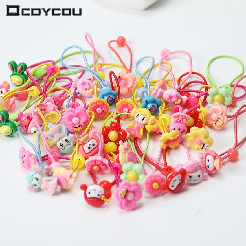 12PCS Mix Color Styles Children Hair Elastic Bands Flower Cartoon Rubber Lovely Kids Girls Headwear Accessories