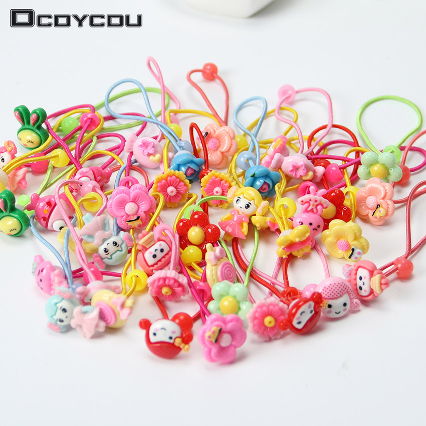 12PCS Mix Color Styles Children Hair Elastic Bands Flower Cartoon Rubber Bands Lovely Kids Girls   Headwear   Accessories