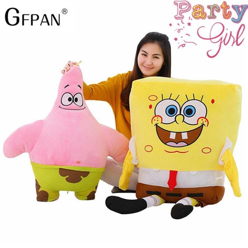1 stück 80 cm Riesen Cartoon Spongebob Und Patrick Star Plüsch Geschenk Super Weiche Kissen Kinder Spielzeug Kawaii Baby Puppen mädchen Kinder Geschenke