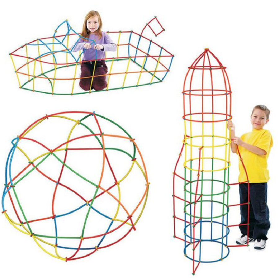 Colorful Pipeline Building Blocks Plastic Tube Tunnel Shape Inserted Assembly Block Toy Kids Developmental Toys 4D Space