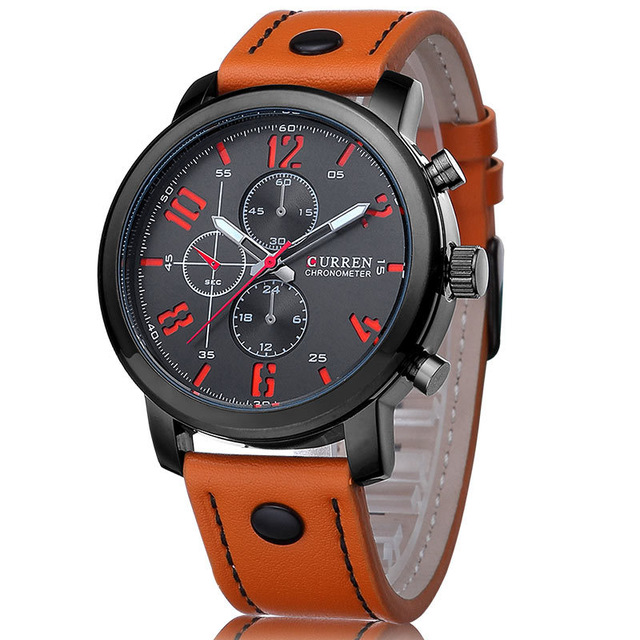 CURREN Casual Mens Watches Top Brand Luxury Leather Men Military Wristwatch Clock Men Sports Quartz-Watch Relogio Masculino 8192 high quality digital length counter meter with length measurment wheel