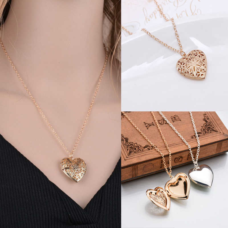 Fashion Silver Gold Color Hollow Heart Pendant Vintage Neckalce for Women Photo Box Couple Gift Family Jewelry Collar