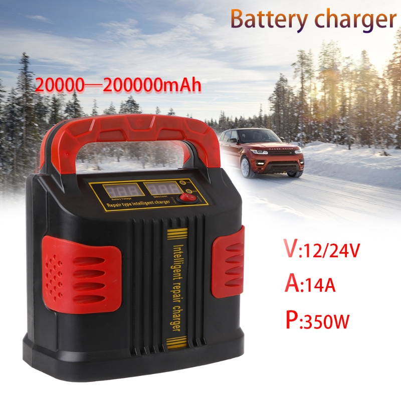 OOTDTY 350W 14A AUTO Plus Adjust LCD Battery Charger 12V 24V Car Jump Starter Portable
