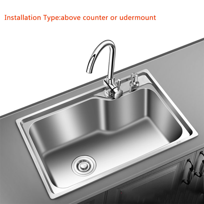 US $67.5 25% OFF|kitchen sink stainless steel Finished brushed single bowl  sink kitchen above counter or undermount without faucet kitchen sinks-in ...