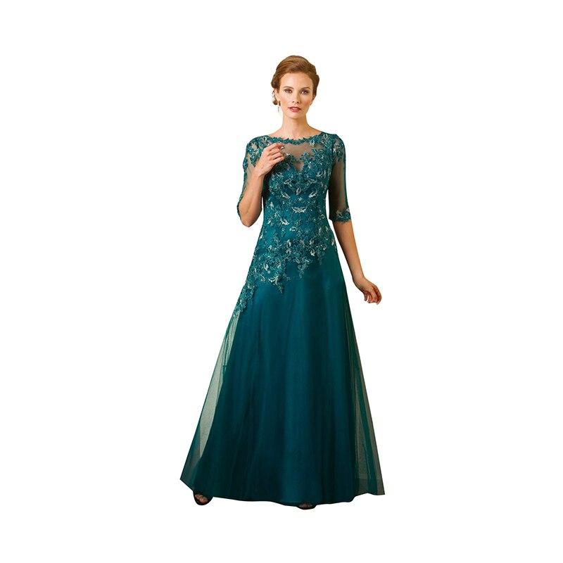 Teal Plus Size 2017 Evening Dress Custom Made Crew Neck Cap1 2 Sleeve Applique Long Tulle