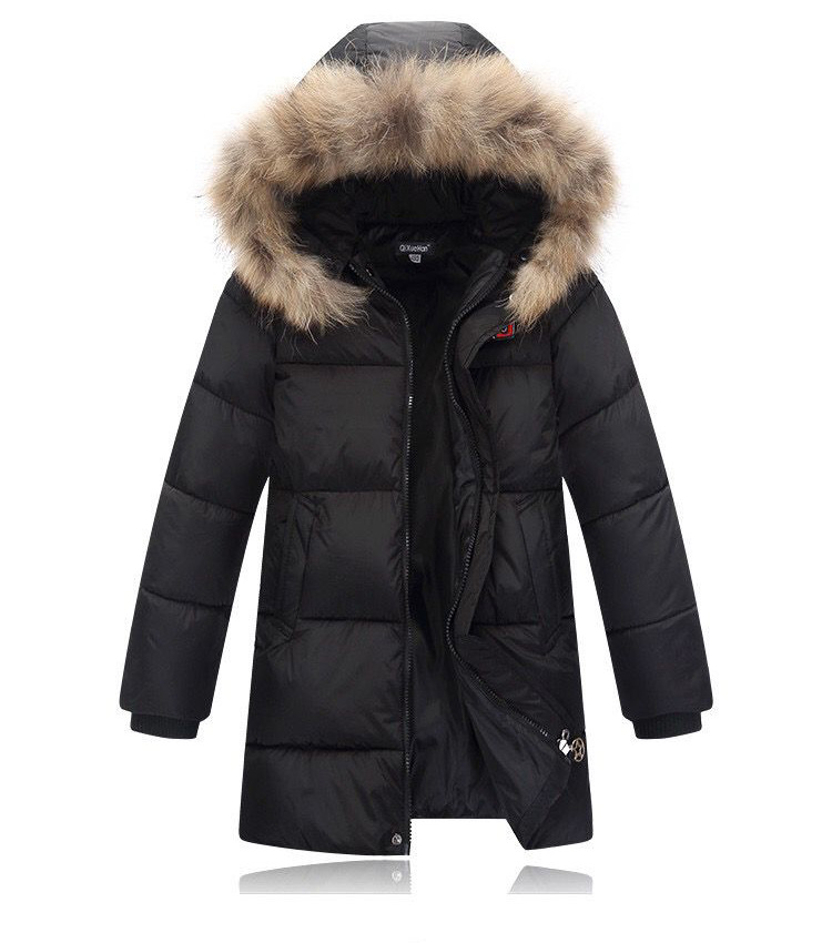 ФОТО 2016 New Style Cotton Coat Outerwear clothes Baby Girl Clothes Fur collar Zipper Coat children down jacket medium-long