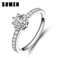 Classic Pure 925 Sterling Silver Jewelry Women Bridal Cubic Zirconia Wedding Ring Female Eternity Promise Engagement