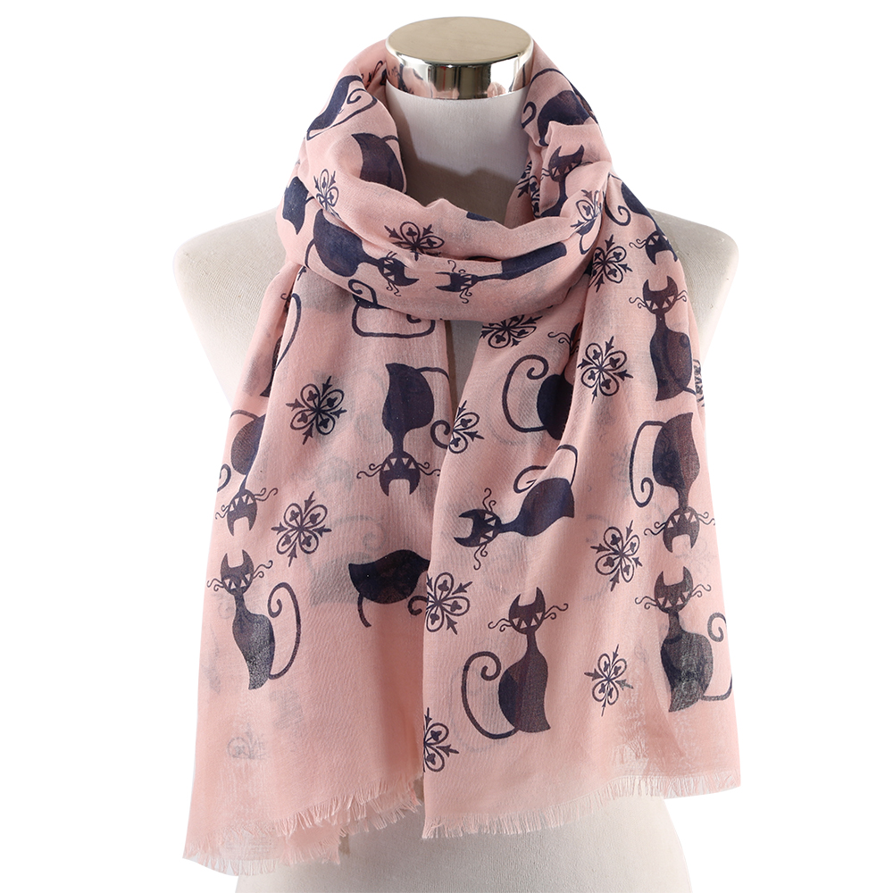 OLOME 2019 Fashion Cute Cat   Scarf   Pink White Women Ladies Shawls Animal Print   Scarves     Wrap   hijab Stoles Beach Foulard