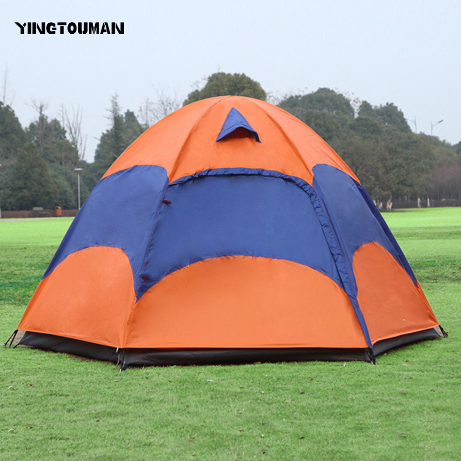 YINGTOUMAN Double Hexagon Rainproof Leisure Tent Camping Picnic Traveling Hiking Fiberglass Party Family Tent