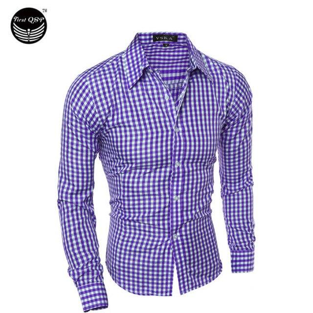 Camisa de los hombres 2016 de La Marca de Moda De Los Hombres de Cuerpo Masculino A Cuadros de Manga Larga Camisa Chemise Homme Camisa Masculina Ocasional Delgado M-XXL CNSK