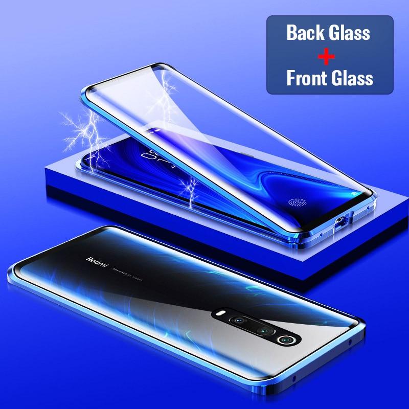 Double Side Limpar Vidro Caso Magnética Para Xiao mi mi mi 9 9 SE 9 T Pro Red mi Nota 7 Pro K20 Pro 360 Completa Proteção Ímã Coque