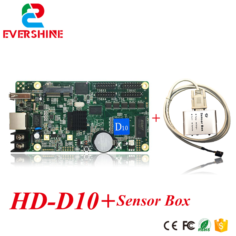Led full color video display controller HuiDu  D10 asynchronous control card hd-d10 with sensor box bx 6q3 usb and ethernet port lintel full color led control card asynchronous video led sign controller 384 1024 512 768pixels