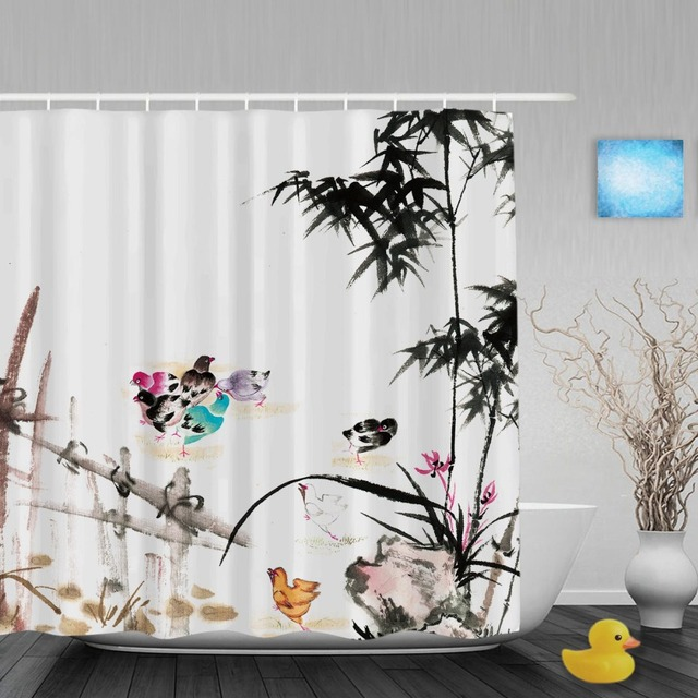 Chinses Style Ink Painting Bathroom Shower Curtains Bamboo Birds Decor Curtain Waterproof Polyester Fabric With Hooks