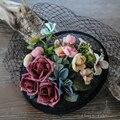 Nupcial Sombreros Con Flores Net Banquete de Boda de La Iglesia Sombreros de La Boda de Estilo Europeo de Las Mujeres Headwear Celada Accesorios Para el Cabello de Las Novias