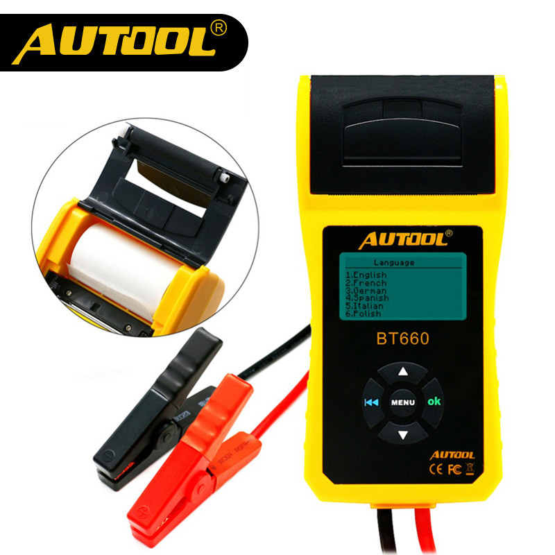 Original AUTOOL BT660 Battery System Tester Built-in Thermal Printer Multi-Language Automobile Battery Tester цена и фото