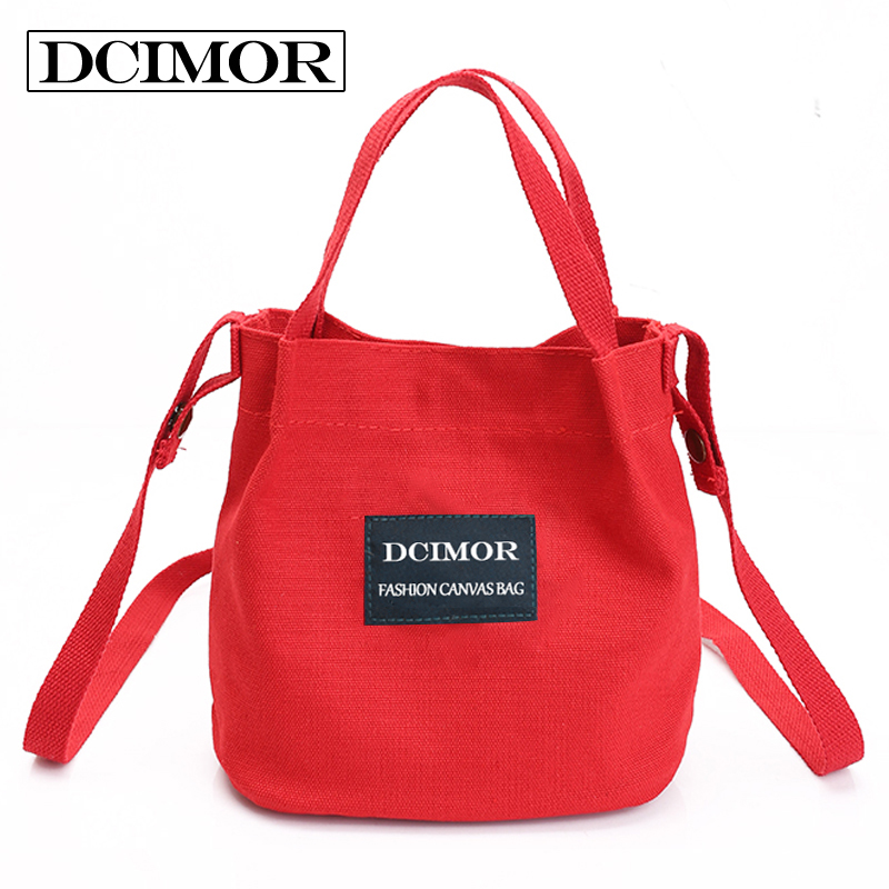 DCIMOR Lady Canvas Handbag Mini single shoulder bag Crossbody Messenger bag women swagger bag Female shopping bags Bucket pack