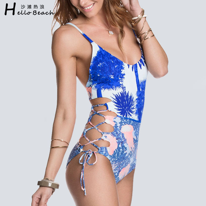 HELLO BEACH 2017 One Piece Swimsuit Swimwear Women Print Bathing Suit Bodysuit Sexy Bandage Monokini Beautiful Trikini Swim Suit sexy one piece swimsuit women swimwear green leaf bodysuit bandage cut out summer beach bathing suit swim monokini swimsuit
