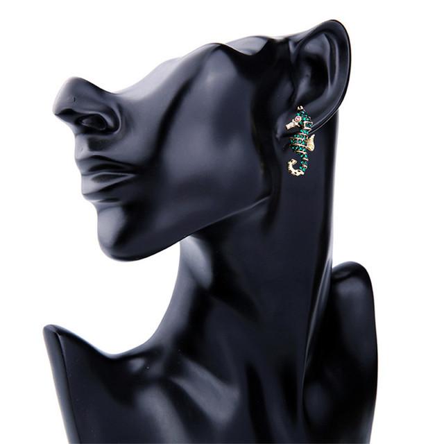 Women's Seahorse Shaped Crystal Earrings