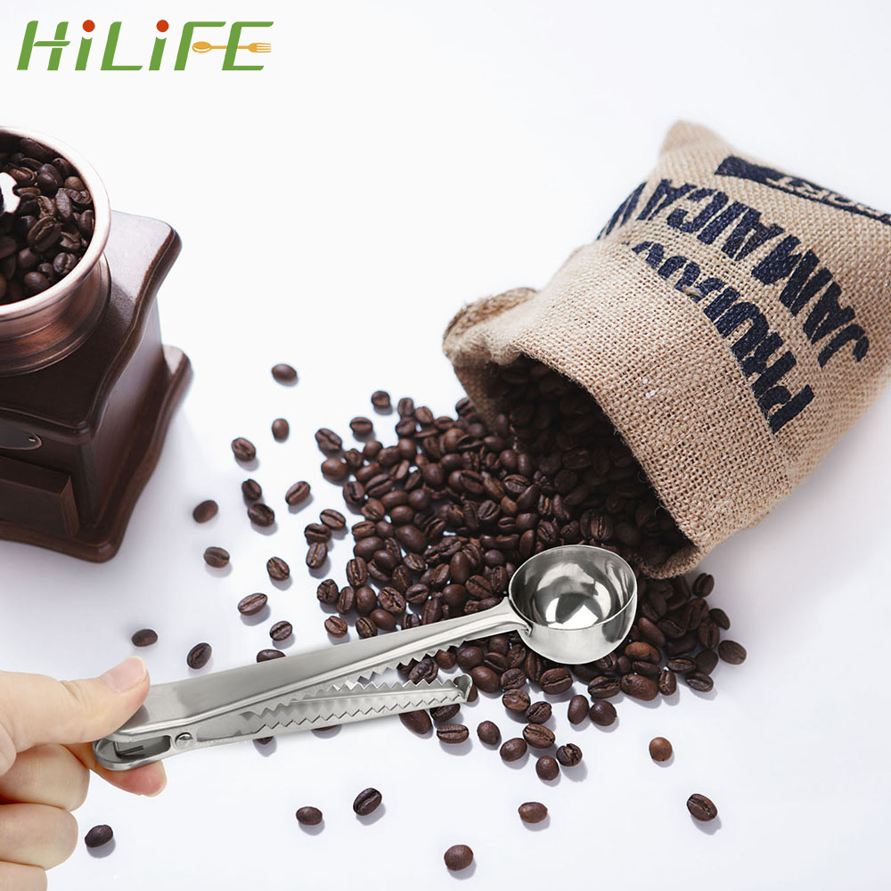 HILIFE Multifunctional Tea Measuring Spoon With Bag Sealing Clip Stainless Steel Coffee Measuring Scoop Kitchen Tool