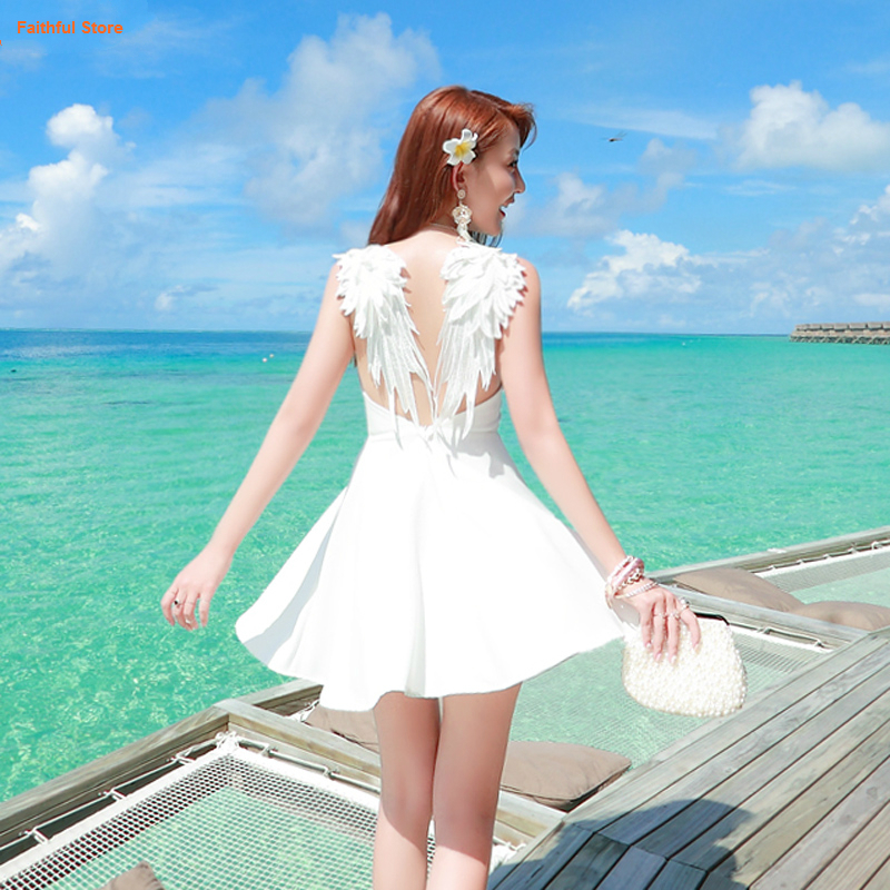 Summer GOTHIC sexy Backless Dress Angel Wings Beach Dress Club Suspender White Black Embroidery Hot Lolita Party Dresses