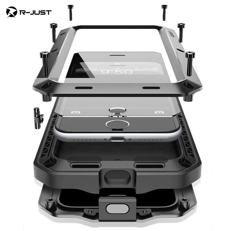 R-JUST Luxury Doom armor Dirt Shock Waterproof Metal Aluminum phone bags case For <font><b>iphone</b></font> X 7 8 5S 6 6S Plus cover+Tempered glass